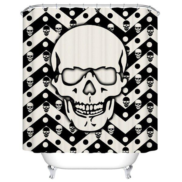 Skull Pattern Polyester Waterproof Bath Shower CurtainHome<br><br><br>Size: 180CM*180CM<br>Color: BLACK WHITE