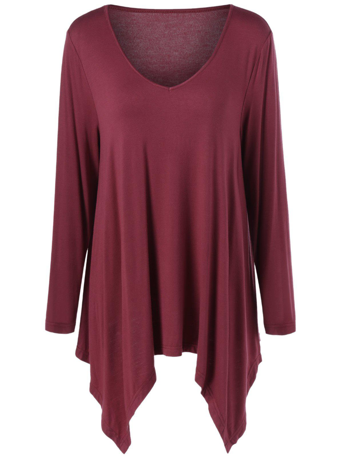 Plus Size V Neck Asymmetrical Tee - DARK RED 3XL