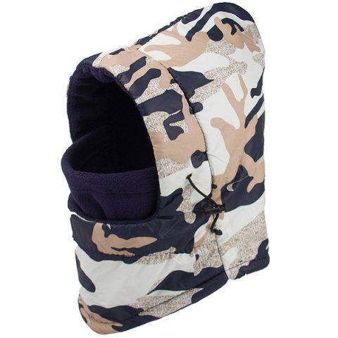 Winter Wind Protection Camouflage Print Face Mask Hat - OFF WHITE