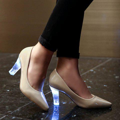 Pointed Toe Clear Heel Led Luminous Pumps - BEIGE 37
