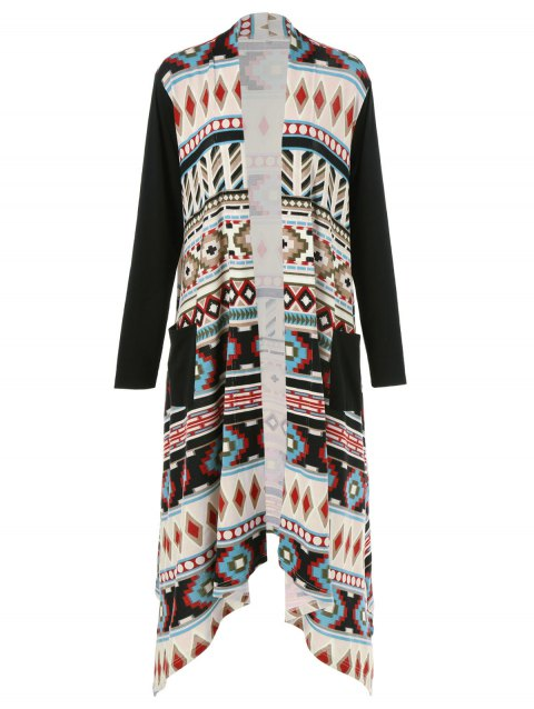 10510ef7525 17% OFF  2019 Plus Size Ornate Print Asymmetric Cardigan In COLORMIX ...