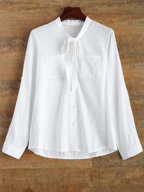 Bouton à manches longues Up Pussy Bow Shirt - Blanc 2XL