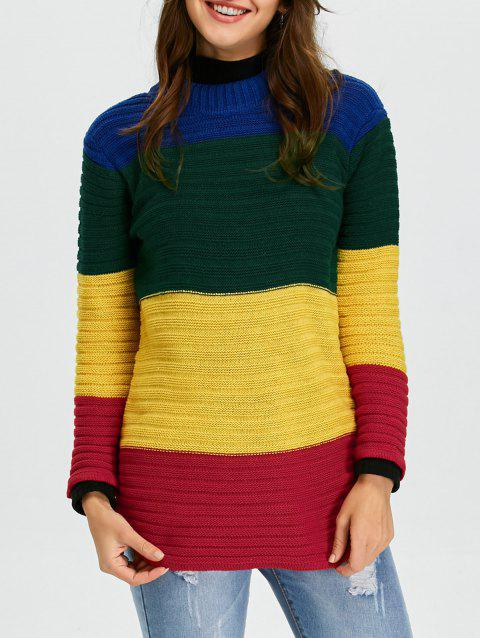 2e409affc5e 2019 Crew Neck Rainbow Color Block Sweater In COLORMIX ONE SIZE ...