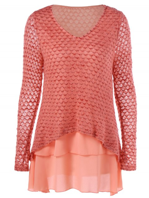 V Neck Layered Long Sleeve Pullover Sweater - ORANGEPINK M