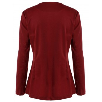 Asymmetric Button Up Blazer - WINE RED 2XL
