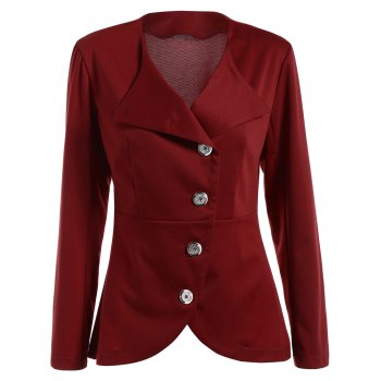 Asymmetric Button Up Blazer - WINE RED M