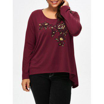 Scoop Neck Floral Plus Size Tee