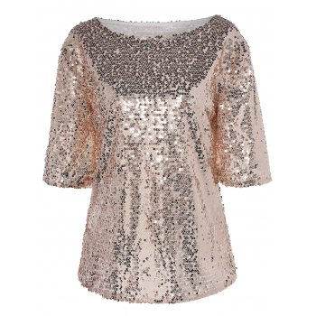 Half Sleeve Sequin Sparkly T-Shirt