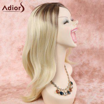 Stylish Blonde Mixed Synthetic Long Layered Side Parting Capless Wig For Women - COLORMIX