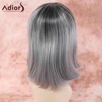 Women's Short Side Bang Gray Mixed White Straight Ladylike Adiors Synthetic Hair Wig - GREY/WHITE