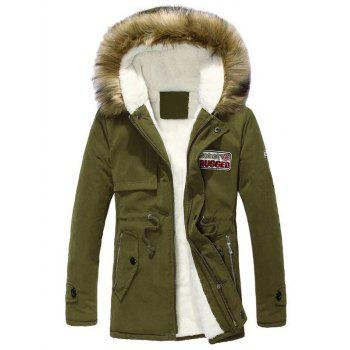 Buy Long Sleeve Zippered Drawstring Fur Hooded Sherpa Coat ARMY GREEN