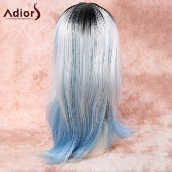 Fashion Women's Long Mixed Color Straight Middle Part Synthetic Hair Wig - COLORMIX
