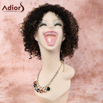 Stylish Short Side Bang Mixed Color Afro Curly Synthetic Wig For Women