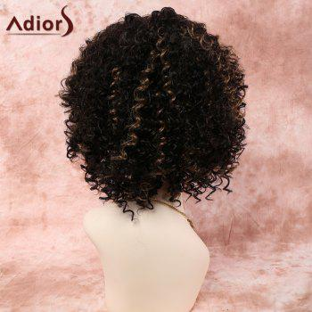 Stylish Short Side Bang Mixed Color Afro Curly Synthetic Wig For Women - COLORMIX