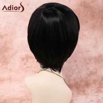 Refreshing Women's Natural Black Short Side Bang Synthetic Wig - BLACK