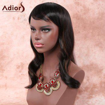 Fluffy Wave Black Brown Mixed Synthetic Charming Long Inclined Bang Capless Adiors Wig For Women - BROWN
