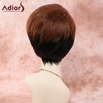 Short Straight Side Bang Women's Colored Synthetic Wig - COLORMIX