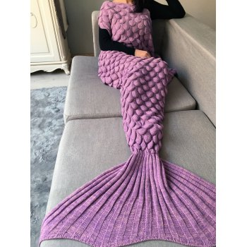 Fish Scale Crochet Knit Long Mermaid Blanket Throw