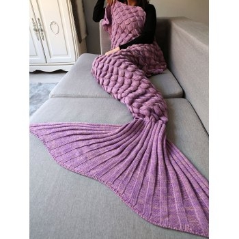 Fish Scale Crochet Knit Long Mermaid Blanket Throw - PINK