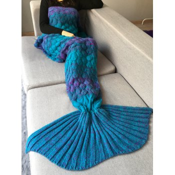 Home Decor Fish Scale Crochet Knit Mermaid Blanket Throw