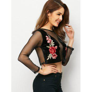 Mesh See-Through Floral Embroidered Cropped Top - BLACK BLACK