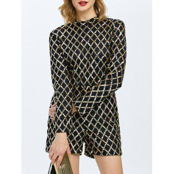 Sequined Grid Mock Neck Romper