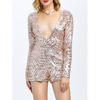 Open Back Plunging Neck Sequined Long Sleeve Romper