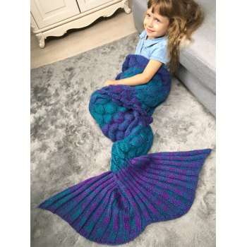 Color Block Fish Scale Crochet Knit Mermaid Blanket Throw For Kids