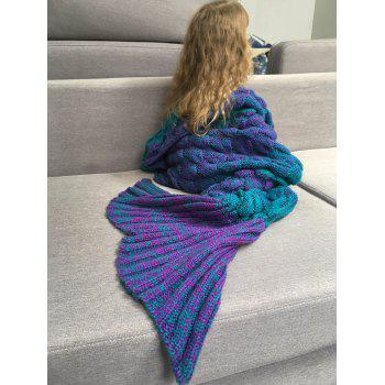 Color Block Fish Scale Crochet Knit Mermaid Blanket Throw For Kids - COLORMIX