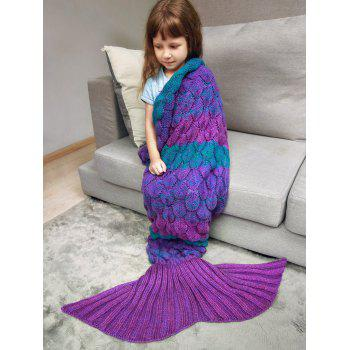 Fish Scale Crochet Knit Color Block Mermaid Blanket Throw For Kids