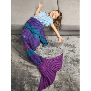 Fish Scale Crochet Knit Color Block Mermaid Blanket Throw For Kids -  VIOLET ROSE