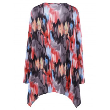 Plus Size Tie-Dye Asymmetrical Tee - RED XL
