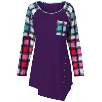 Raglan Sleeve Plaid Plus Size Tee - DEEP PURPLE DEEP PURPLE