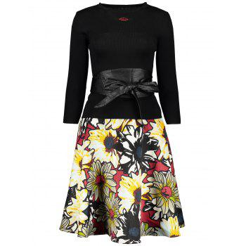 Lip Graphic Sweater and Floral Skirt Twinset - BLACK BLACK