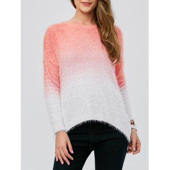 Fuzzy High Low Ombre Sweater