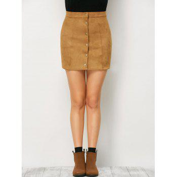 Mini Suede Button Up Skirt