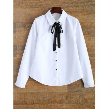 Long Sleeve Bow Tie Fleece Lined Shirt