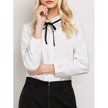 Stand Collar Self Tie Chiffon Blouse