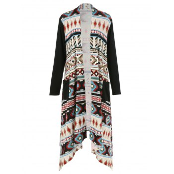 Plus Size Ornate Print Asymmetric Cardigan