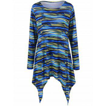 Colorful Striped Plus Size Asymmetric T-Shirt - COLORMIX COLORMIX