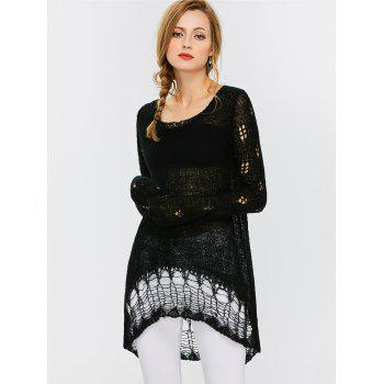 Hollow Out Crochet Tunic Sweater