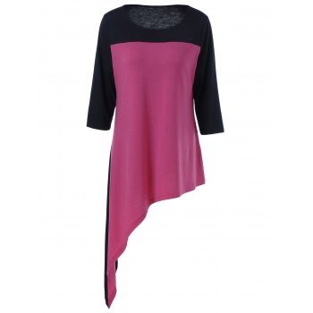 Color Block Plus Size Asymmetric T-Shirt