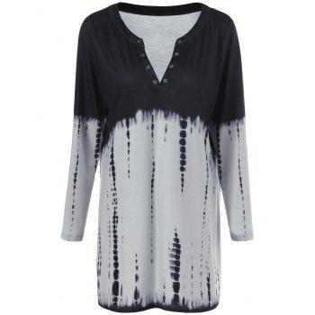 Plus Size Snake Print Ombre Tunic T-Shirt - BLACK AND GREY BLACK/GREY