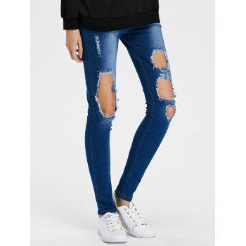 Dark Wash Ripped Pencil Jeans
