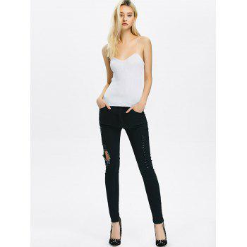 High Rise Ripped Pencil Jeans - 2XL 2XL