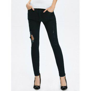 High Rise Ripped Pencil Jeans - BLACK XL