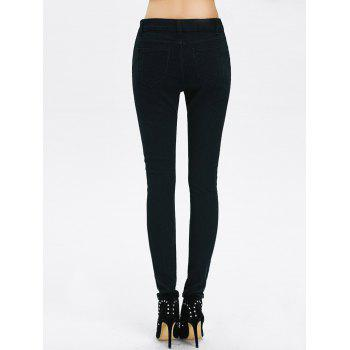 High Rise Ripped Pencil Jeans - BLACK BLACK