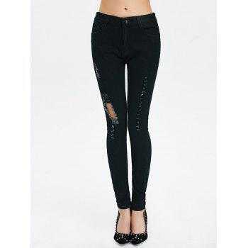 High Rise Ripped Pencil Jeans - M M