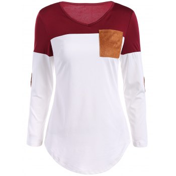 Color Block Elbow Sleeve T Shirt