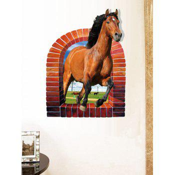3D Horse Rushing Window Living Room Decoration Wall Stickers
